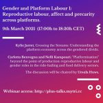 Next PLUS TALKS, Gender and Platform Labour 1: Reproductive labour, affect and precarity across platforms. Online Webinar